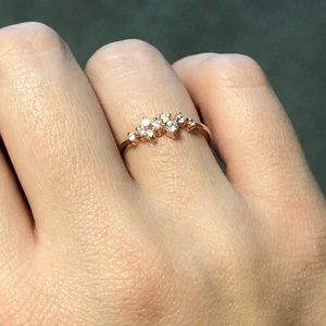 Dainty star cluster constellation rose gold ring